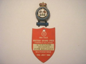 Found on ebay – 18th RAC BRITISH GRAND PRIX 1965 ENTRY BADGE AND ENAMEL BADGE