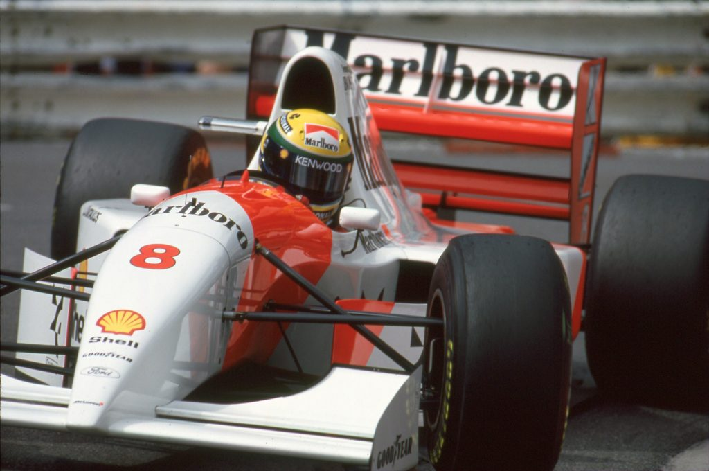 f1 car for sale ayrton senna 39 s monaco winning 1993 mclaren ford mp4 8a retro race cars. Black Bedroom Furniture Sets. Home Design Ideas